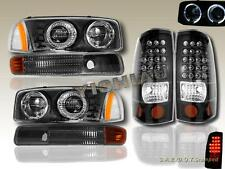 1999-2003 GMC SIERRA DUAL HALO HEADLIGHTS + BUMPER LIGHTS + LED TAIL LIGHT BLACK