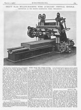 1906 Antique Engineering Print - Heavy Slab Milling Machine w/ Vertical Spindle
