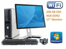 "Fast Dell Desktop Pc Tower Core 2 Duo New 240 Gb SSD 4GB Ddr2 17"" Monitor Wi-Fi"