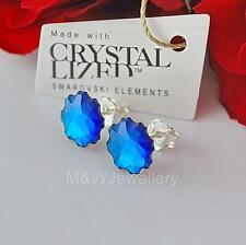 STUDS EARRINGS SWAROVSKI ELEMENTS JELLY FISH BERMUDA BLUE F STERLING SILVER 925