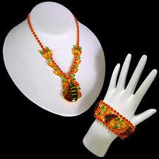 Schreiner Orange Special Effects Glass Rhinestone Bib Necklace & Bracelet