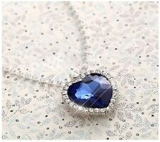 Gift TITANIC Swarovski Crystal Heart of the Ocean Necklace Blue Sapphire New