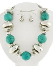 Turquoise Stone Ball And Silver Tone Bead Chunky Necklace Earring Set