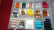 LOT OF 36 VARIOUS COLORS EMBROIDERY FLOSS BOBBINS W/PLASTIC ORGANIZER