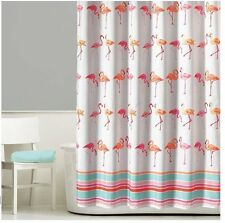 Fancy Pink Flamingo Striped Shower Curtain Bathroom Decor Pink White SHIPS FREE