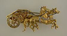 Amazing DIAMOND YELLOW GOLD HORSE and CARRIAGE PIN BROOCH CLIP EQUESTRIAN GIFT