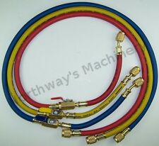 """LX3116CM R410A 60"""" 800 psi Charging Hoses w/Ball Valves 1/4"""" SAE Fittings"""