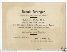 1912 Buffalo NY German Funeral Card - Jacob Krueger