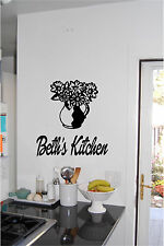 Flowers & Personalized Kitchen Sign Wall Sticker Wall Art Vinyl Decals