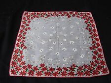 VINTAGE RED AND WHITE POINSETTIAS LADIES' CHRISTMAS HANKIE/HANDKERCHIEF