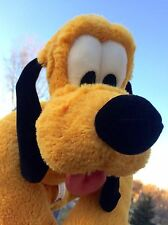 Disney Pluto Plush About 17 Inches Lying Down Green Collar with Name Tongue Out