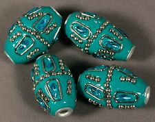 FOUR (4) JESSE JAMES TURQUOISE HANDMADE 27MM POLYMER BEADS W/METAL & RHINESTONES