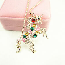 Woman Colorful Crystal Steed Horse Unicorn Pendant Necklace Long Sweater Chain
