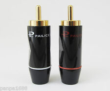1pair Pailiccs Gold Plated Brass RCA Plug Soldering 8mm cable Connector Black