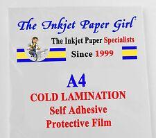 A4 laminazione a freddo LUCIDA Autoadesivo Pellicola Protettiva 2 FOGLIO campione Pack