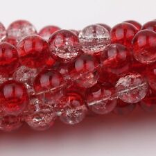 Lot 10-100 Two Tone Round Glass Crackle Spacer Beads Making Craft 4/6/8/10/12mm