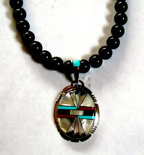 NATIVE AMERICAN STERLING INLAID INLAY TURQUOISE ONYX MOP CORAL PENDANT NECKLACE