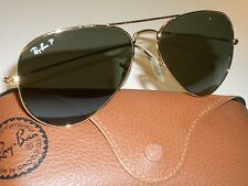 58[]14mm RAY BAN RB3025 001/58 3P AVIATOR GP POLARIZED LENS SUNGLASSES NEAR MINT