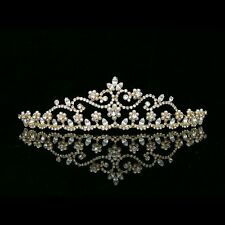 Gorgeous Gold Flower Rhinestones Crystal Pearl Bridal Wedding Crown Tiara 7398