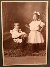 1890s Cabinet Card Photo Young Boy Tricycle Bicycle With Sister Pointing At Him