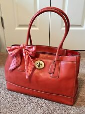 Coach Hamptons Coral Leather Madeline Large Tote w/Ribbon