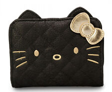 New LOUNGEFLY Sanrio Hello Kitty WALLET Face Head BLACK GOLD 3D Ear Bow Quilted