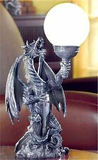 "18"" Tall **SCULPTED MYTHICAL DRAGON with GLOBE TABLE DESK OR BEDSIDE LAMP ** NIB"