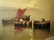 Vintage Oil Painting FISHING BOATS #1 of a Pair Signed un-framed
