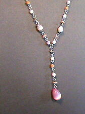 Silver Tone Pink Moon Stone Drop Pendant Necklace by NY