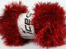 Red Festival Metallic Long Eyelash Yarn #43052 - Ice 50 gram 76 yards