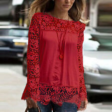Women's Long Sleeve Chiffon Embroidery Lace Crochet Tee Shirt Tops Plus size