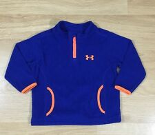 Under Armour Pullover 1/4 Zip Fleece Baby Toddler Size 18 Months Blue Orange