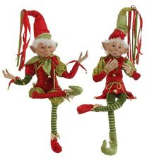 Large Elf set of 2 Christmas Elves Red and Green rzchtr 3202682 NEW RAZ Imports