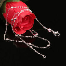 """Women Fashion 18"""" 925 Sterling Silver Plated 3mm Beads Simple Chain Necklace New"""