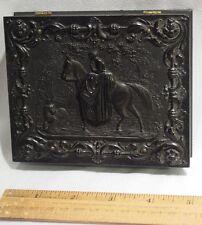 Old 1/4 Plate Gutta Percha Dag Union Case w Lady Horse  Dog Riding Crop