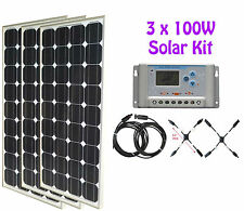 300W 3x 100W Solar Panel panneau solaire 30A LCD charge controller cable RV kit