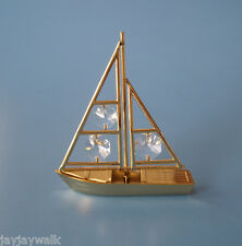 "SWAROVSKI CRYSTAL ELEMENTS ""SAILBOAT"" FIGURINE-ORNAMENT 24KT GOLD PLATED"
