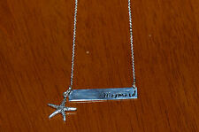 "18"" 925 Sterling Silver Mermaid Word Message Necklace w Sea Starfish Charm"