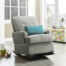Nursery Rocking Chair Baby Nursery Rocker Seat Upholstered Furniture Gray NO TAX