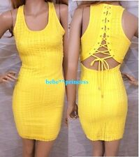 NWT bebe yellow textured lace up cutout back top dress bodycon tank L large 8 10