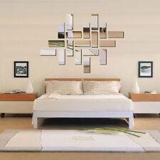 Silver Acrylic 3D Rectangle Mirror Effect Wall Sticker Home Room Decor