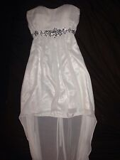 White And Silver Prom high low Dress Size Small