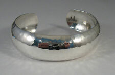 "925 sterling silver domed cuff bracelet with hammered finish 3/4"" wide"