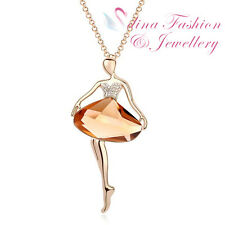 18K Gold Plated Simulated Crystal Elegant Ballet Girl Long Necklace Jewellery