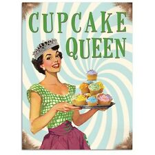 Cupcake Queen, Kitchen Baking, Retro Funny 50s Pin-up Girl, Small Metal/Tin Sign