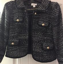 ANN TAYLOR WOMENS BLACK AND WHITE BLAZER/ JACKET W/ GOLD BUTTONS SIZE 6