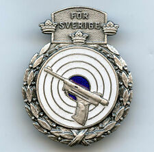 Sweden Air Pistol Shooting Award Silver Class Badge High Grade !!!