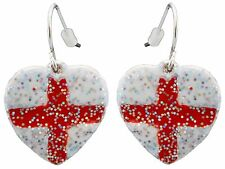 Zest St Georges England Flag Heart Shaped Earrings for Pierced Ears Red & White