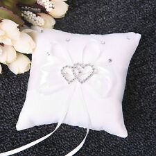 Crystal Rhinestone Double Heart Ring Bearer Mini Pillow Cushions Wedding Party