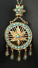 ANTIQUE VICTORIAN 22CT GOLD LARGE TURQUOISE SEED PEARL PENDANT - 506